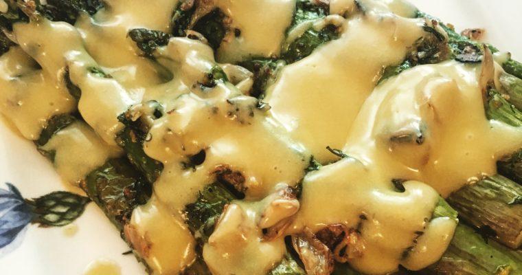 Sinfully Simple Roasted Asparagus with Hollandaise Sauce